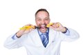 Smiling Male Doctor Holding Pliers Royalty Free Stock Photo