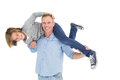 Smiling man carrying son on his shoulders men white background Royalty Free Stock Image