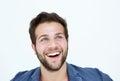 Smiling Man Face On White Back...
