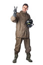 Smiling man in hazard suit a wearing an nbc suite nuclear biological chemical Royalty Free Stock Photos