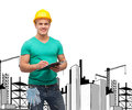 Smiling man in helmet with clipboard repair construction and maintenance concept Stock Images