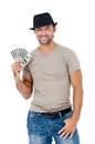 Smiling man holding money handsome isolated on white background Stock Image