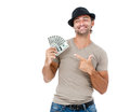 Smiling man holding money handsome isolated on white background Stock Photos