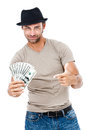 Smiling man holding money handsome isolated on white background Stock Images