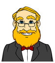 Smiling man with orange beard in cartoon style Royalty Free Stock Photo