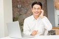 Smiling man on a phone call Royalty Free Stock Photo