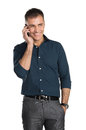 Smiling man talking on cell phone mature isolated white background Royalty Free Stock Photos