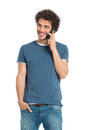 Smiling man talking on cellphone portrait of happy young isolated white background Stock Image