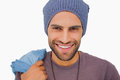 Smiling man wearing beanie hat on white background Royalty Free Stock Photography