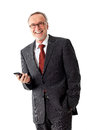 Smiling mature business man with mobilephone senior Royalty Free Stock Images
