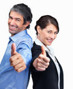 Smiling mature business man and woman gesturing Stock Photography