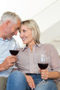 Smiling mature couple with wine glasses sitting on sofa portrait of a at home Stock Photography