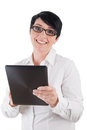 Smiling mature woman with a digital tablet picture of Stock Images