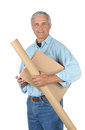 Smiling Middle aged Deliveryman with Parcels Stock Photos