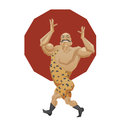 Smiling mighty strongman goes in parade alle illustration of cartoon character of circus strong man done edged geometric style man Stock Photography