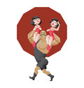 Smiling mighty strongman hold a two girls in shoulders illustration of cartoon character of circus strong man done edged geometric Stock Photo