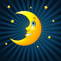Smiling moon on radial background Royalty Free Stock Photo