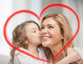 Smiling mother and daughter hugging family children love concept Royalty Free Stock Photos