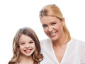 Smiling mother and little girl at home family child concept Stock Photography