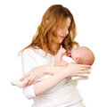 Smiling mother with newborn baby Royalty Free Stock Photography