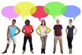 Smiling multi ethnic group of people talking with speech bubble