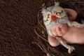 Smiling Newborn Baby Boy Wearing an Owl Hat Royalty Free Stock Photo