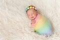 Smiling Newborn Baby Girl Wear...