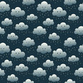 Smiling night rein clouds seamless pattern Royalty Free Stock Photos