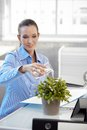 Smiling office girl watering plant worker potted sitting at desk Stock Images