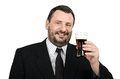 Smiling officeman holds glass of ale bearded on a white background Stock Photography