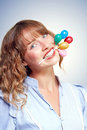 Smiling party person with birthday balloons Royalty Free Stock Photography