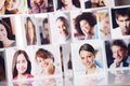 Smiling people social network concept portraits of a group of Royalty Free Stock Photography