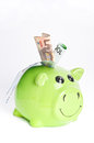 Smiling piggy bank Royalty Free Stock Photo