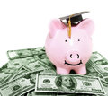Smiling piggy bank with graduation cap on cash Stock Photos