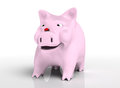 Smiling piggy bank with ladybird on nose front view of a that watches a red which stands top of its a neutral background Royalty Free Stock Photography