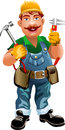 Smiling plumber illustration of drawn in cartoon style Royalty Free Stock Photo