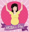 Smiling Pregnant Woman with her Hands Up Celebrating Mother's Day, Vector Illustration Royalty Free Stock Photo