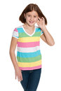 Smiling preteen girl a portrait of a against the white background Stock Images