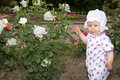 Smiling pretty little child girl with flower rose in park Stock Photography
