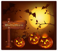 Smiling pumpkins with bats and moon. Stock Photos