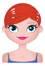 Smiling red headed girl a illustration of a blue eyed from the shoulders up Stock Images