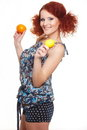 Smiling redhead ginger woman in summer dress Royalty Free Stock Photos