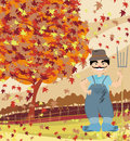 Smiling redneck in autumn landscape illustration Stock Photo