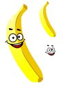 Smiling ripe yellow tropical banana cartoon with a second variant with no face and a separate smile element isolated on white Stock Photos