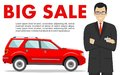 Car showroom. Big sale. Manager sells new business class automobile. Detailed illustration of businessman and red auto on white ba Royalty Free Stock Photo