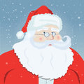 Smiling Santa Claus pointing at you, snowflakes in the background. Royalty Free Stock Photo