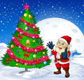 A smiling santa beside the giant christmas tree illustration of Stock Photo