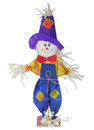 Smiling scarecrow in colorful clothes isolated on white halloween image background Royalty Free Stock Photos