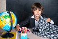 Smiling school boy with schoolbag Royalty Free Stock Photo
