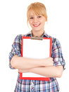 Smiling secretary keeping blank clipboard Stock Images